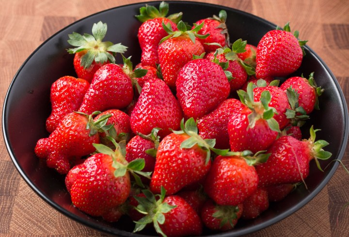 Bowl of Strawberries waiting to be made into Vegan Strawberry Shortcake.