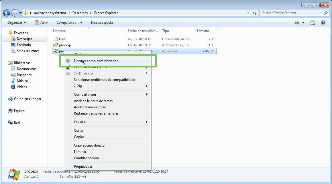 Administrador Process Explorer ViirusTotal