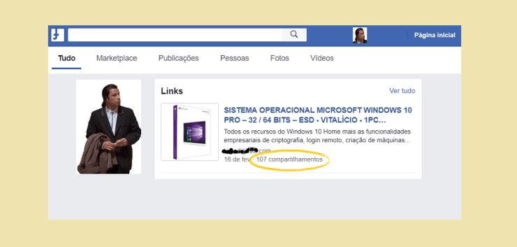 Anúncio duvidoso de Windows 10 PRO em mídia social
