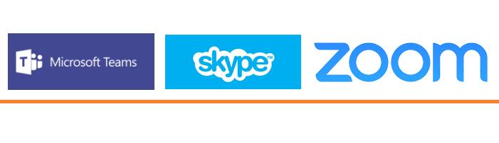 Logotipos do Microsoft Teams, Skype e Zoom