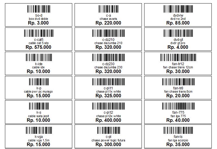 Aplikasi Toko dan Stok Barang - Barcode Barang
