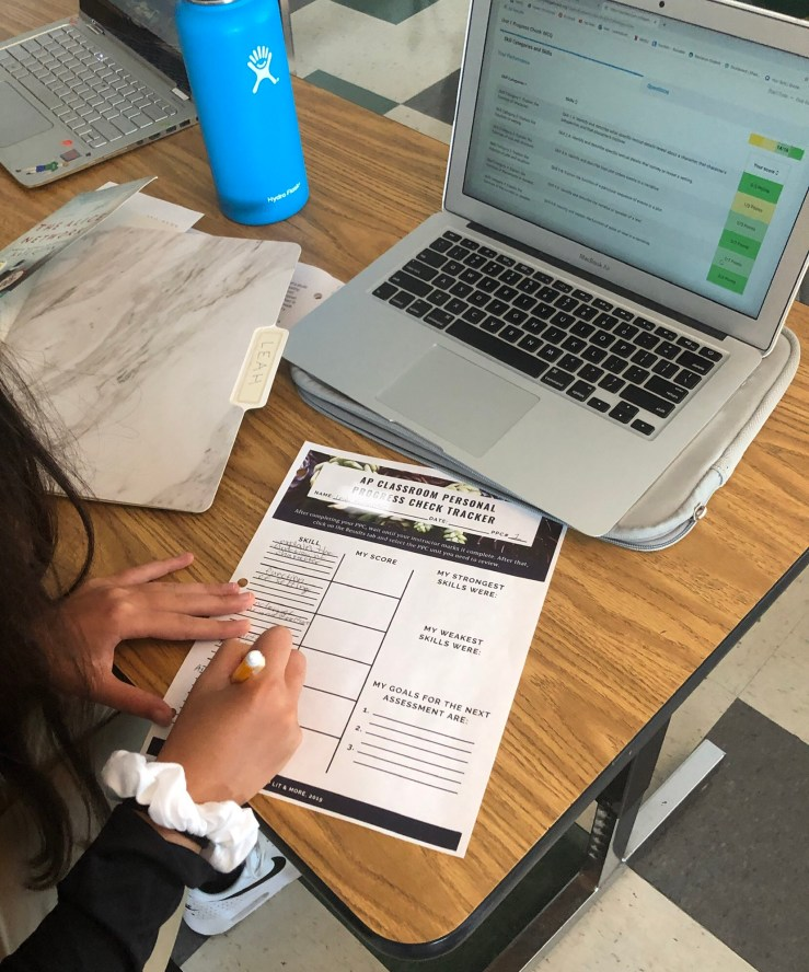 Student tracking data and setting goals