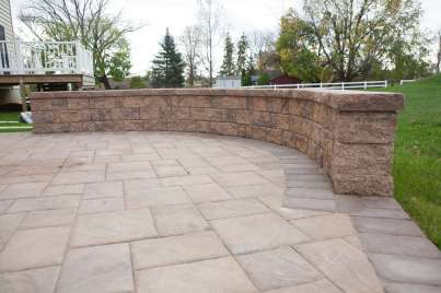natural stone block wall and patio in Honey Brook, PA