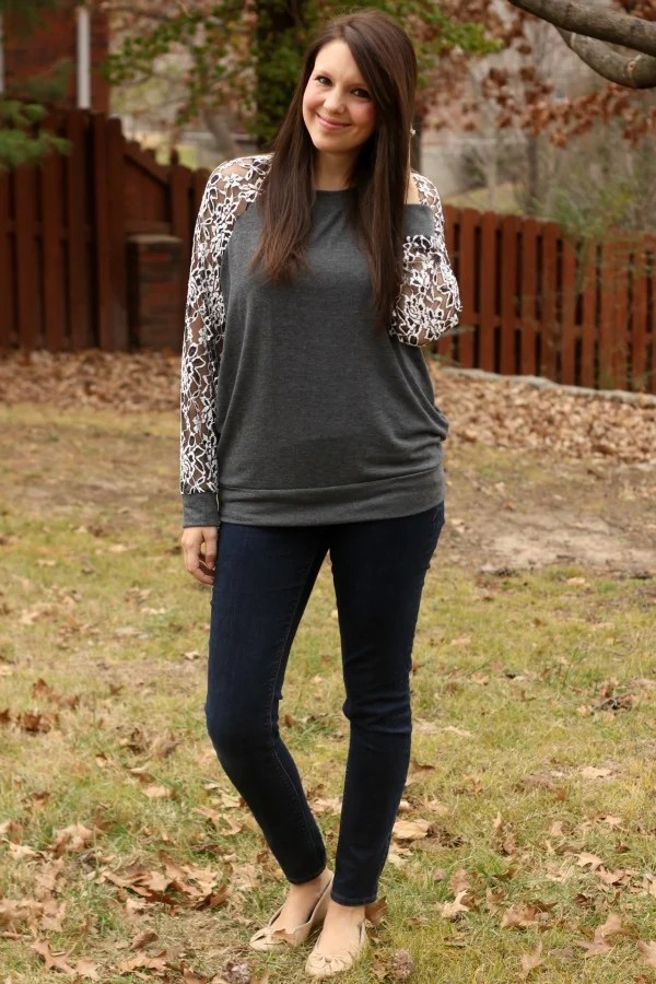 Le Lis Leavy Lace Sleeve Knit Top - Stitch Fix Review #10 by Missouri style blogger A + Life