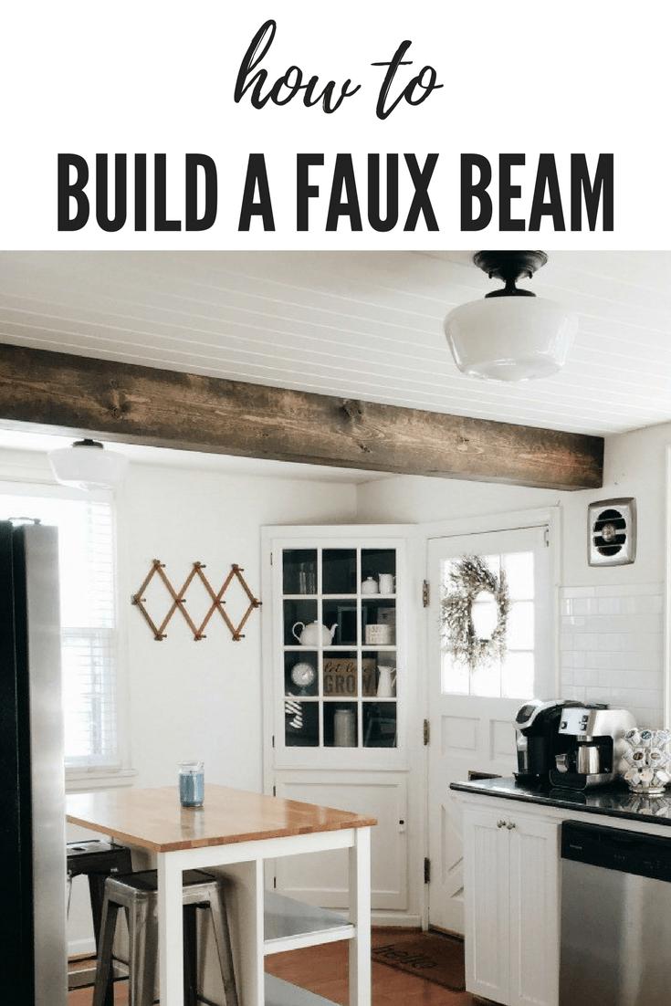 faux beam, faux wood beam, faux beam ceiling diy, faux beam ceiling diy kitchens, faux beam kitchen, faux beam diy, faux beam how to, #fauxbeam #farmhousekitchen #farmhousestyle