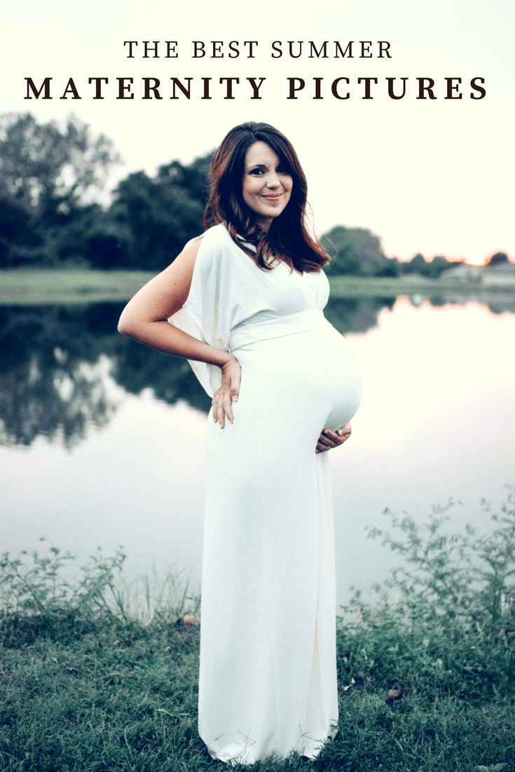 Summer Maternity Pictures, What To Wear For Maternity Photos Outside, Summer Maternity Photo Outfits, Maternity Photo Shoot Clothing Ideas, Maternity Photo Shoot, Maternity Pictures, White Dress Maternity Photo, Summer Pregnancy, Maternity Photos. #maternitystyle #Maternitypictures #maternityphotoshoot