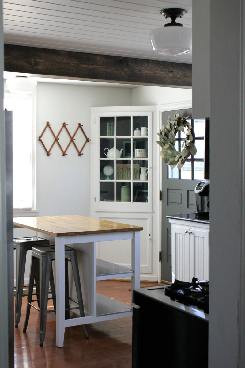Kendall Charcoal kitchen, Kendall Charcoal, Kendall charcoal kitchen door, gray kitchen door, kitchen door ideas, kitchen doors to outside, farmhouse kitchen door, farmhouse kitchen, small farmhouse kitchens, farmhouse kitchen pictures, ideas for painting interior doors #benjaminmoore #farmhousekitchen #kitchen