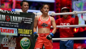 Team Lakay's Gina Iniong inside the ONE Championship ring