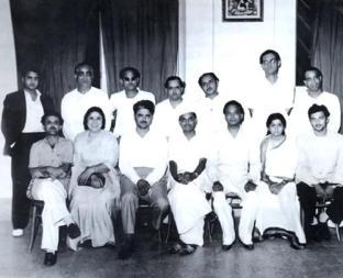 Standing: Jaikishan, Pt. Govindram, Hansraj Behl, Roshan, Mohd. Shafi, Hemant Kumar and Ghulam Mohd. Sitting: v. Balsara, Saraswati Devi, C. Ramchandra, Anil Biswas, Naushad, Lata Mangeshkar and Madan Mohan.(PIC COURTESY SANGEETA GUPTA JI)