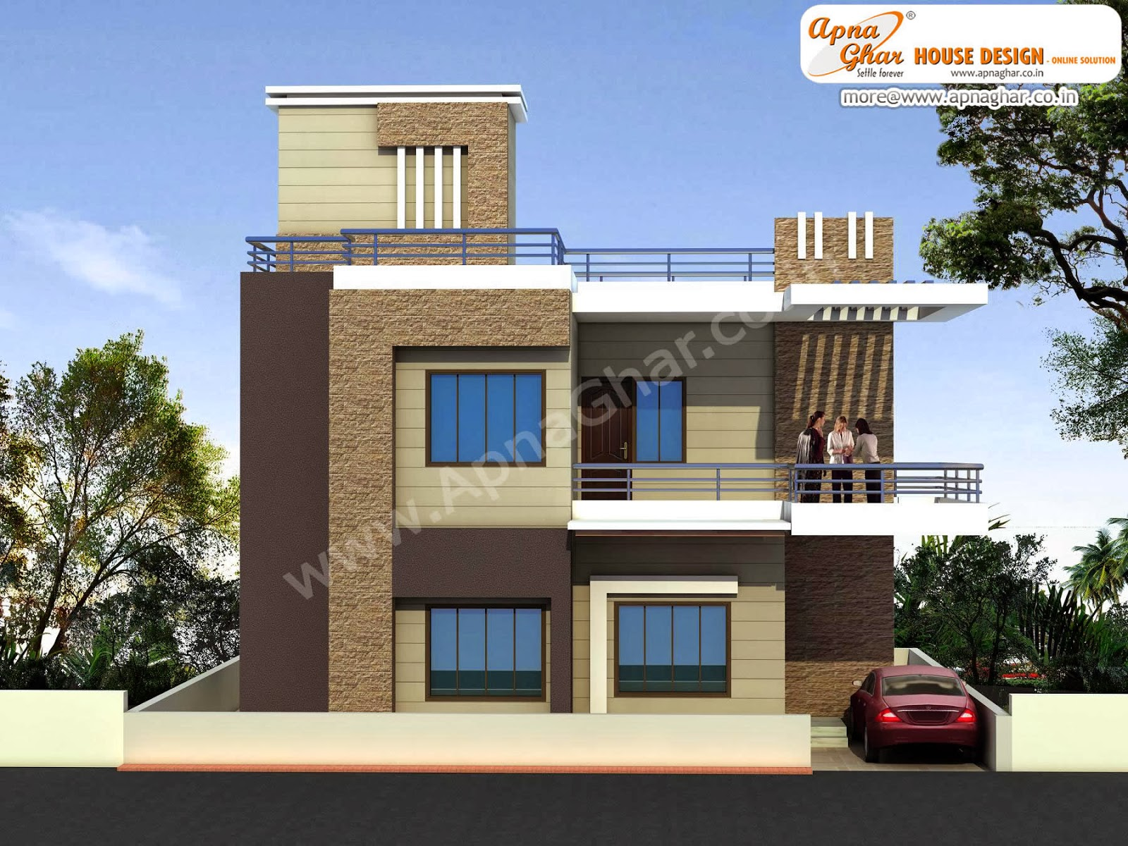 Front Elevation Modern House   2015 House Design Duplex House Design      ApnaGhar
