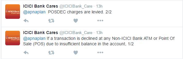 ICICI Bank POSDEC Charges Twitter Reply