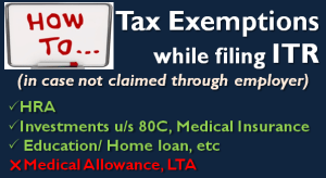 Claim Tax Exemption while filing Income Tax Return