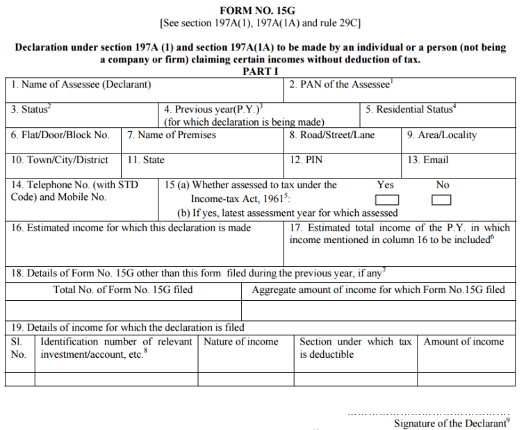 How to fill Form 15G - Step by Step Guide