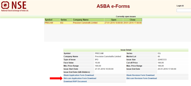 ASBA eForm for IPO Investment