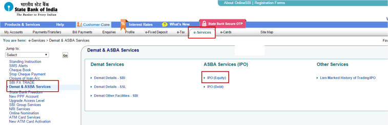 ASBA option for IPO Investment in SBI