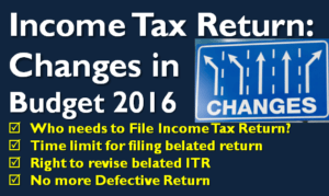 Income Tax Return - Changes in Budget 2016