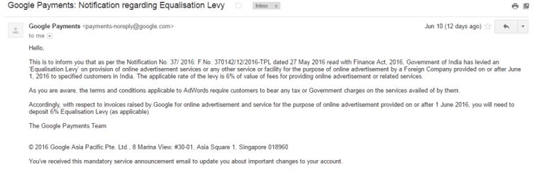 Google Payments - Notification regarding Equalisation Levy