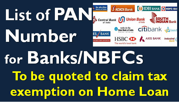 PAN Number of Banks - SBI, HDFC, etc