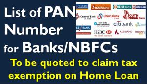 List of PAN Number for Banks & Home Loan Lenders