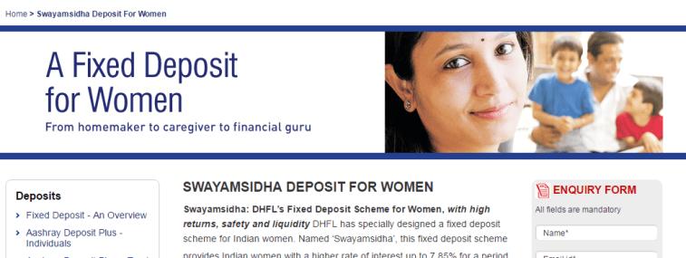 DHFL Swayamsidha Deposit Scheme for women