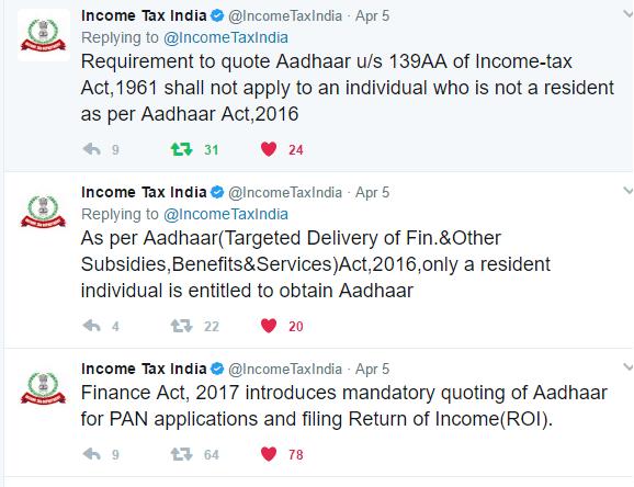 Income Tax Clarification on NRI do NOT need to link PAN to Aadhaar
