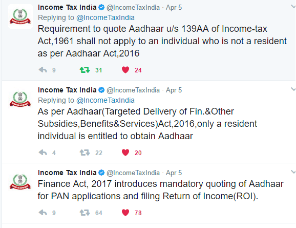 Income Tax Clarification on NRI do NOT need to link PAN to Aadhaar