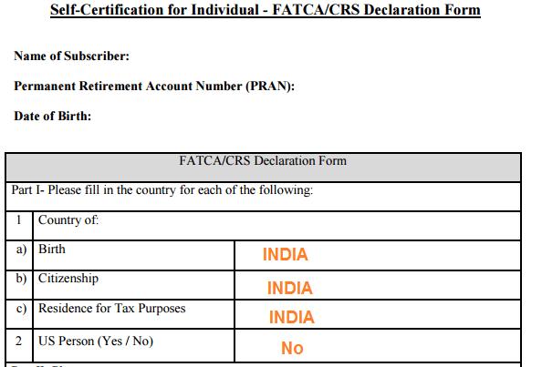 NPS FATCA Self Declaration Form - Part I