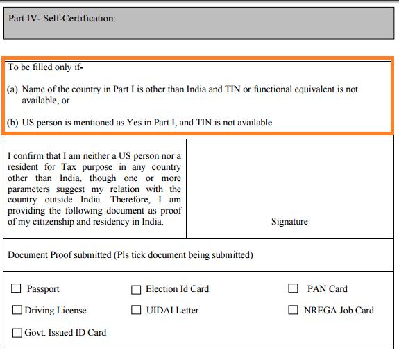 NPS FATCA Self Declaration Form - Part IV