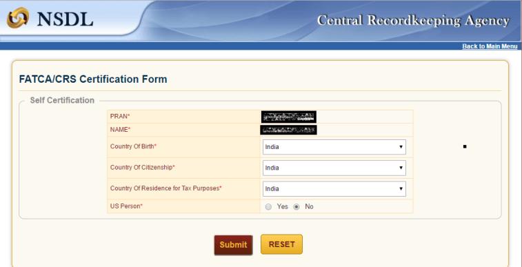 NPS FATCA Online Form