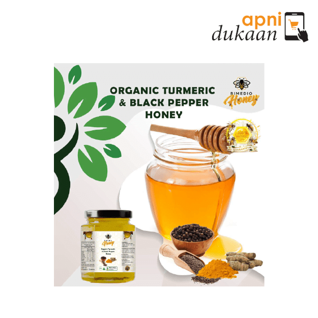 Rimedio Organic Turmeric & Black Pepper Honey 250gm