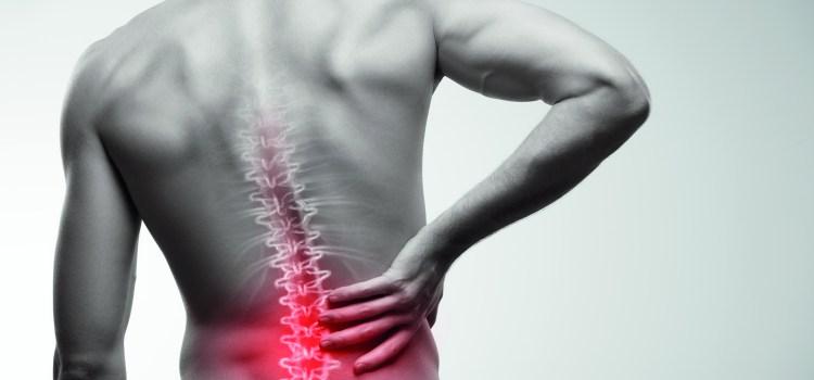 Männerrücken in schwarz-weiß. Wirbelsäule durch Rücken sichtbar. Schmerz im Lendenbereich. Rückenschmerzen was tun