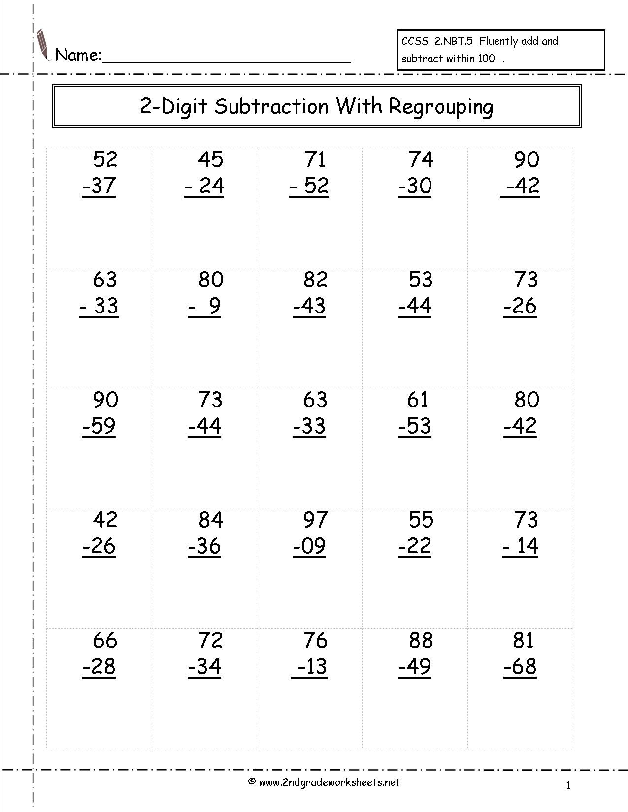 3 Free Math Worksheets Second Grade 2 Subtraction Single