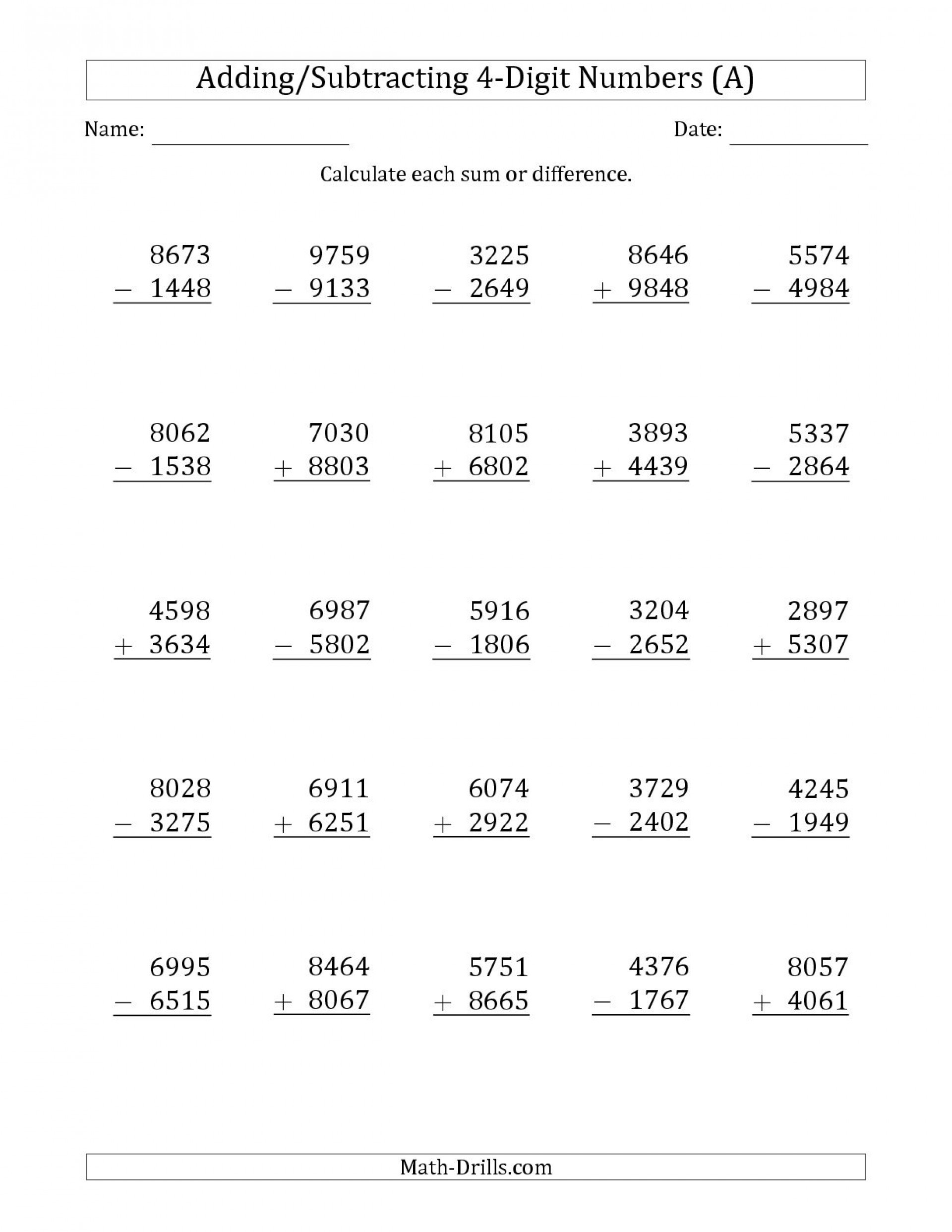 5 Free Math Worksheets Third Grade 3 Addition Add 3 Digit