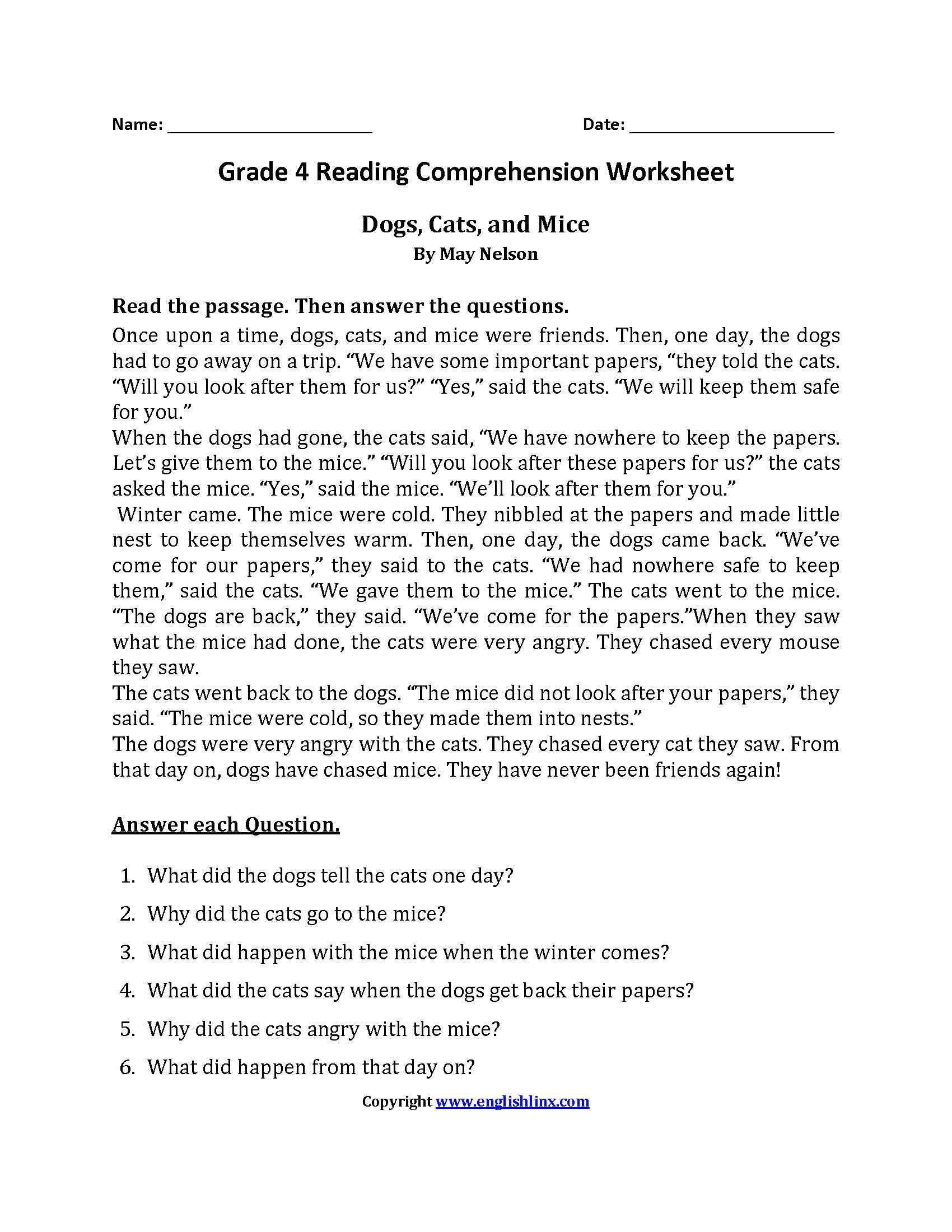 3 Reading Comprehension Worksheets First Grade 1
