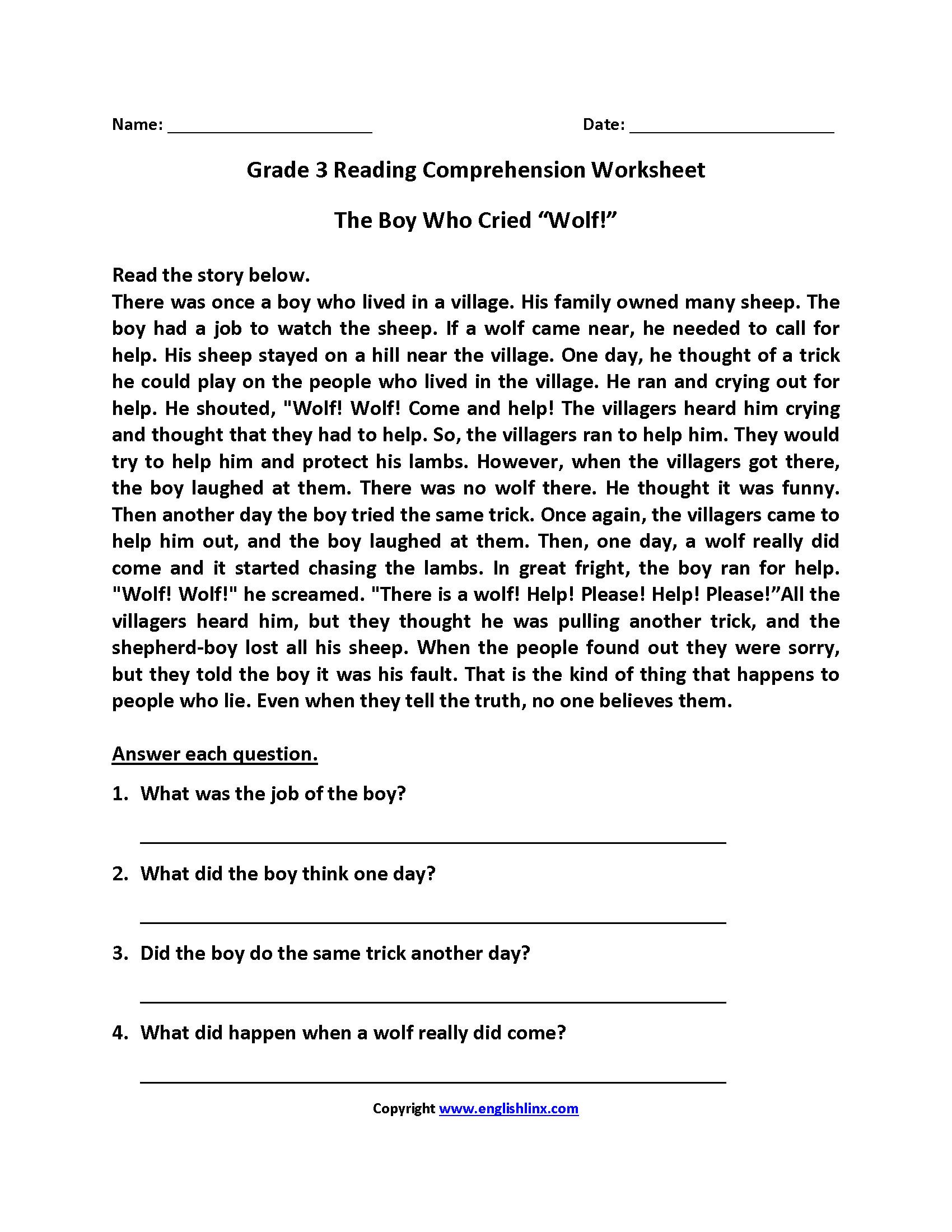 3 Reading Comprehension Worksheets Third Grade 3