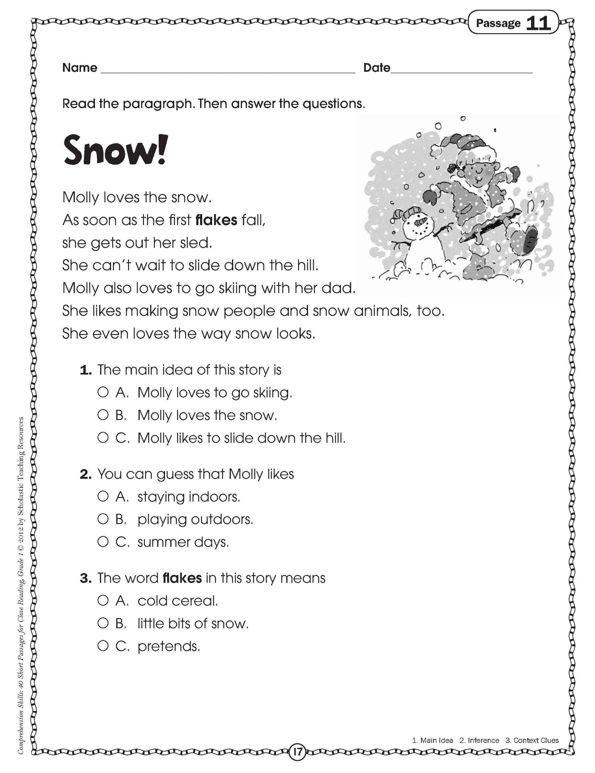 4 Sample Grade 1 Reading Comprehension