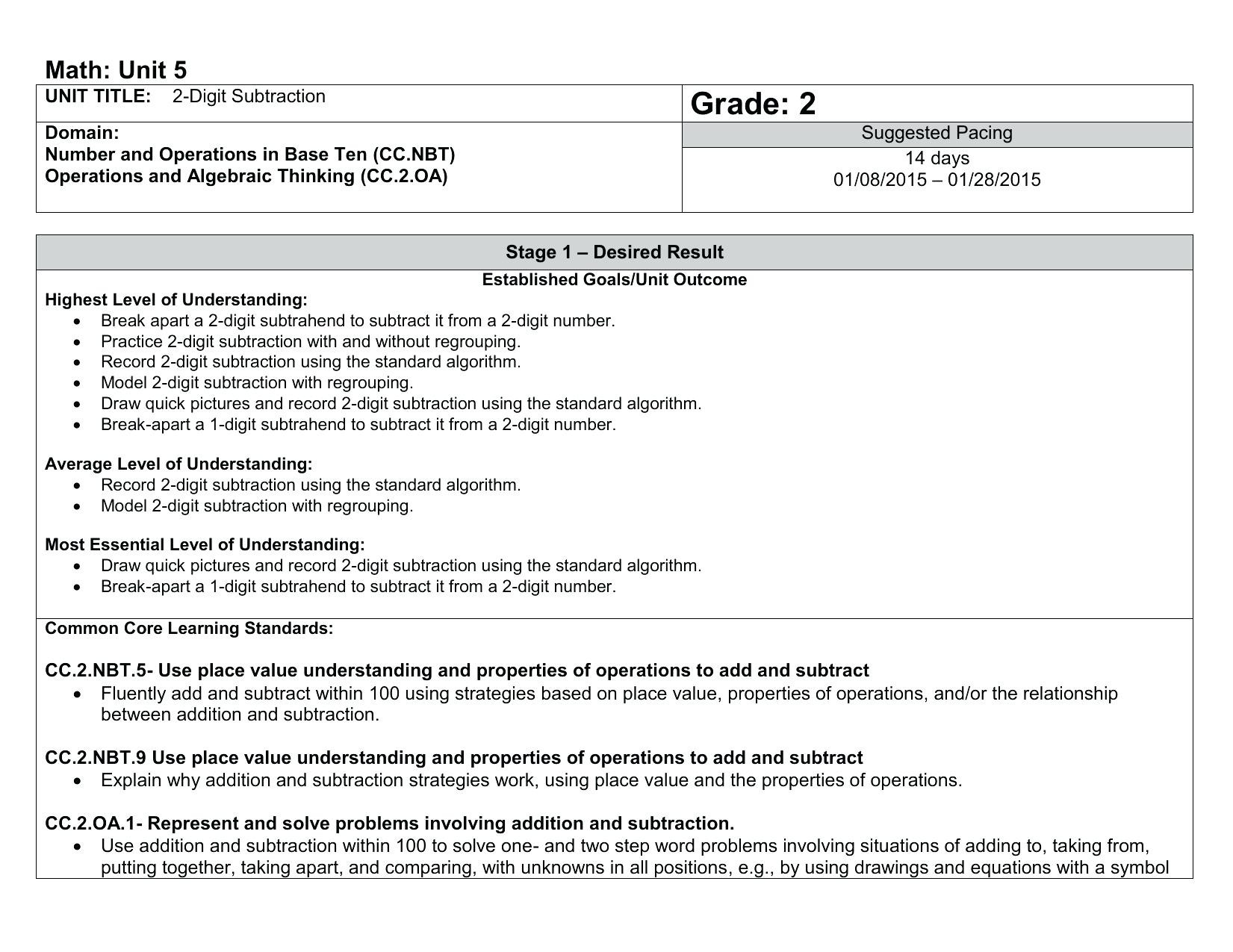 5 Sample Grade 2 Algebra