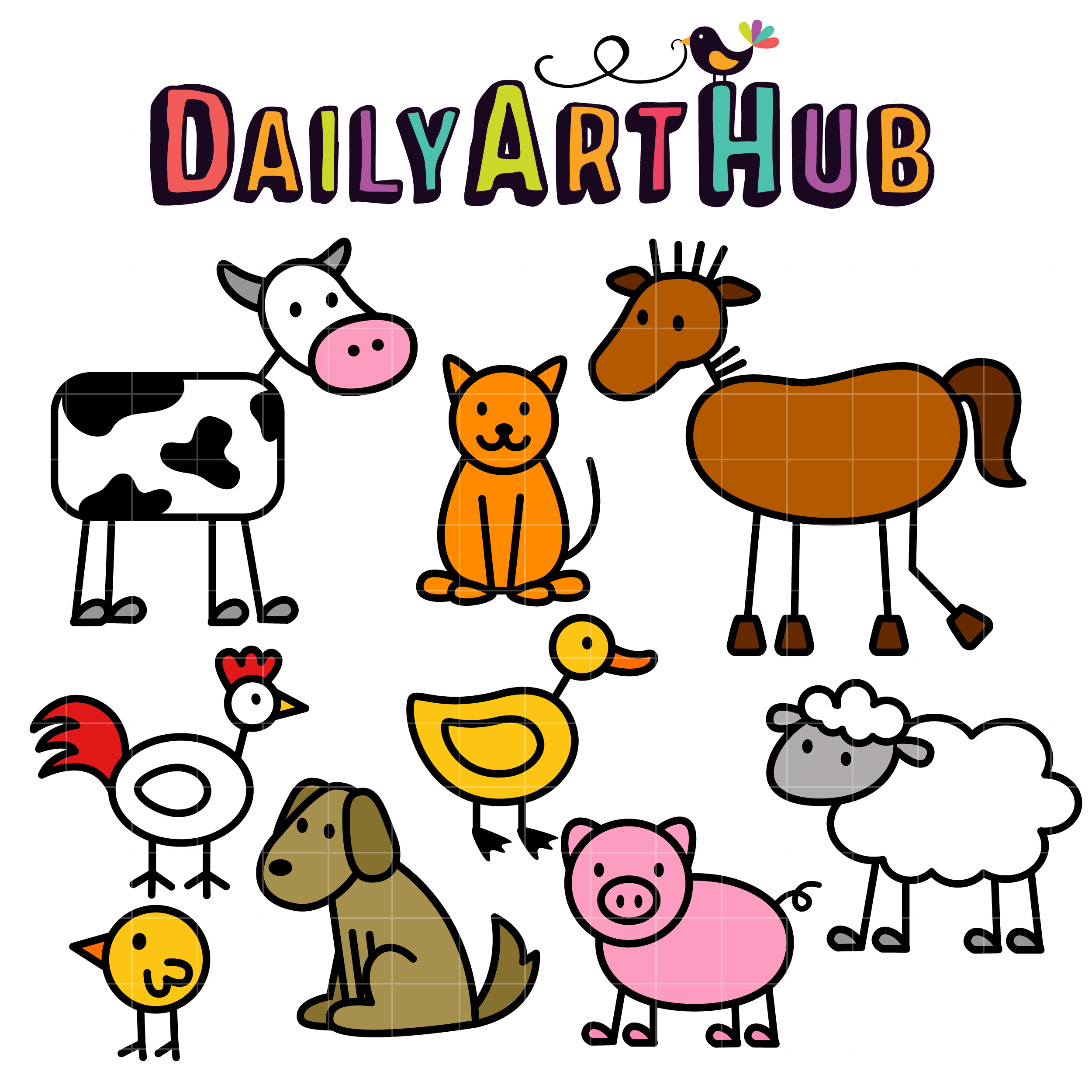 5 Farm Animals Clipart For Kids