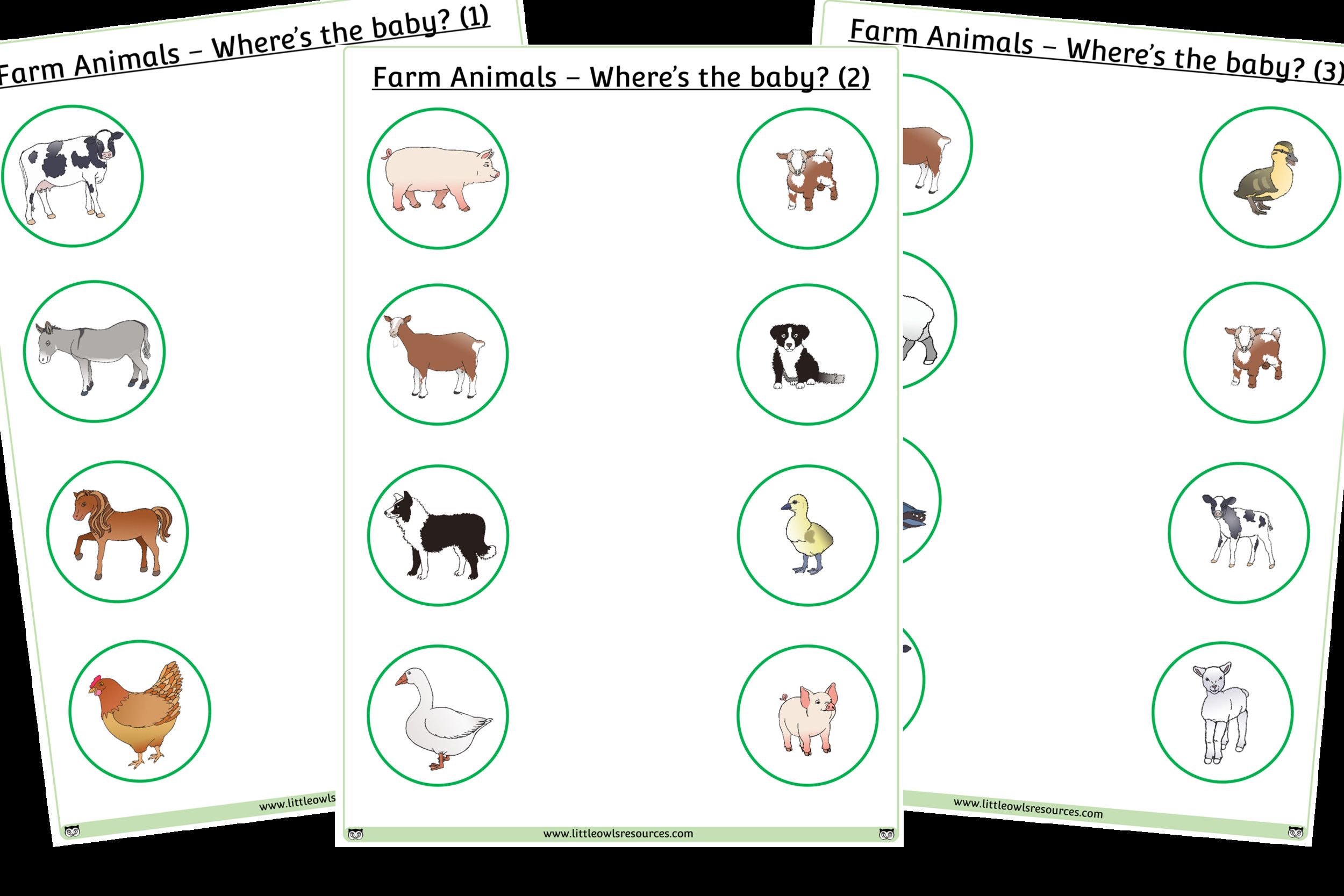 6 Farm Animals Matching Cards