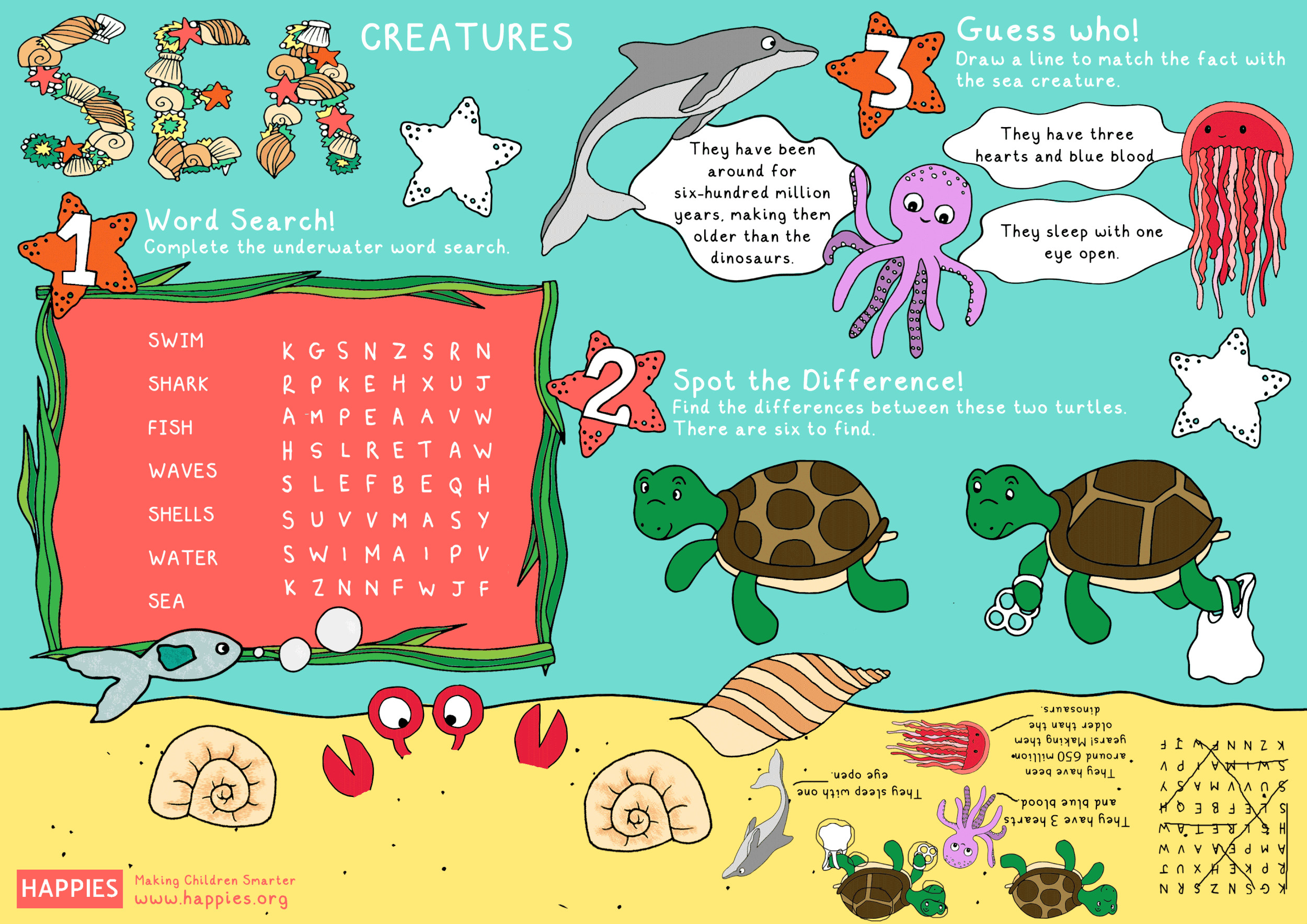 5 Ocean Animals Worksheets For Kids