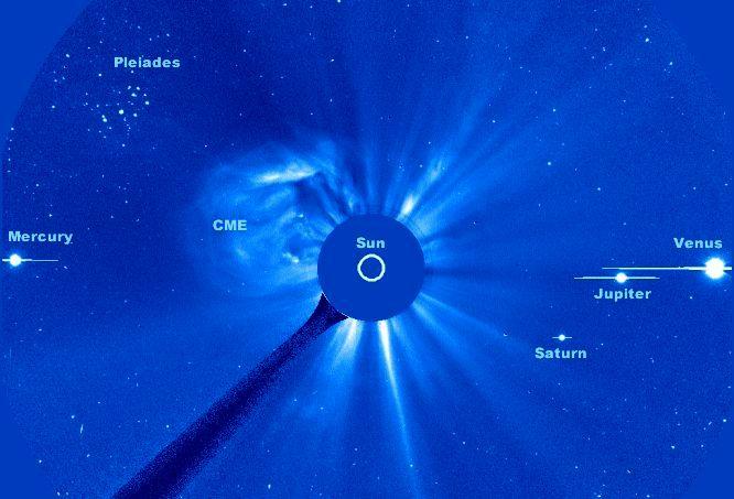 Apod 2000 May 24 Pleiades Planets And Hot Plasma