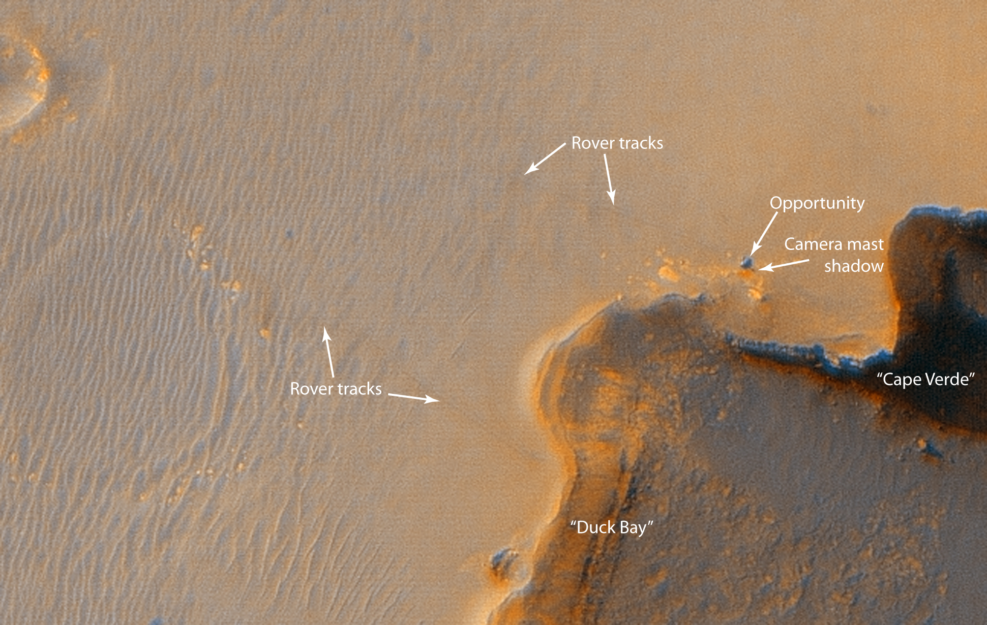 APOD 2006 October 9 Mars Rover at Victoria Crater Imaged from Orbit