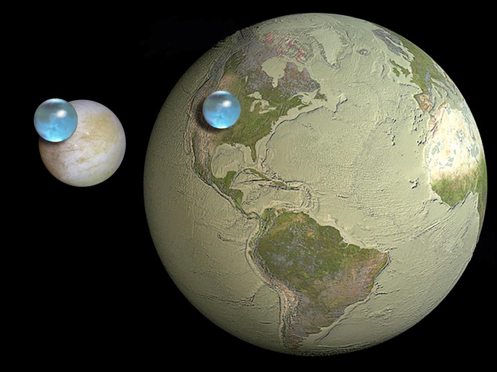 पृथ्वी और युरोपा मे पानी की मात्रा की तुलना