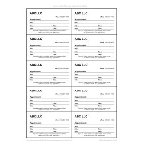 Reminder & Appointment Cards