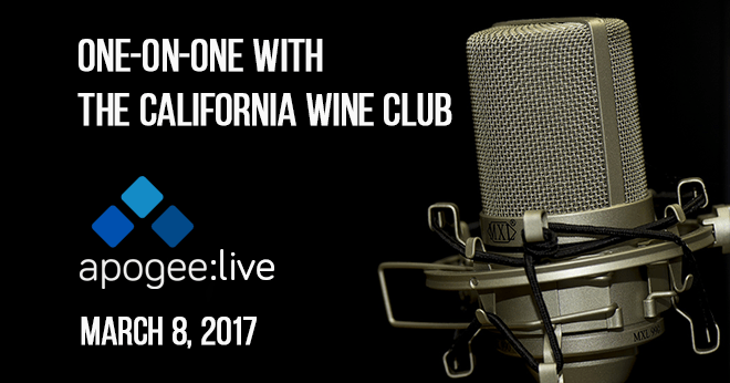 One-on-One With The California Wine Club: Apogee Live