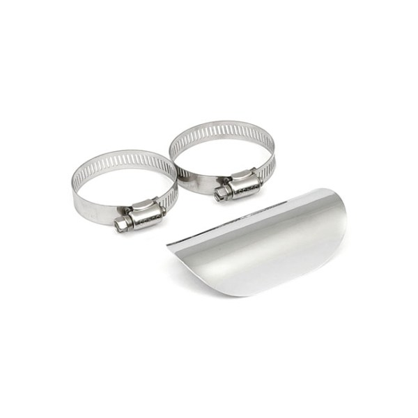 """Universal smooth heat shield 4"""" long chrome 