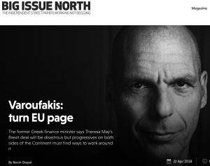 Turn the Brexit page and let's move on by uniting progressives in the UK and in the EU: Interview in BIG ISSUE NORTH, 22 APR 2018