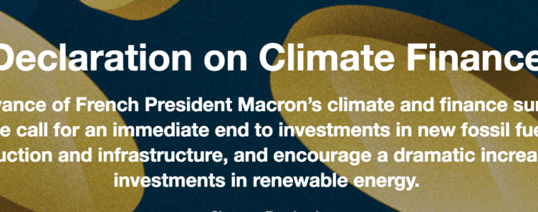 Calling for an immediate end to investments in new fossil fuel production and infrastructure