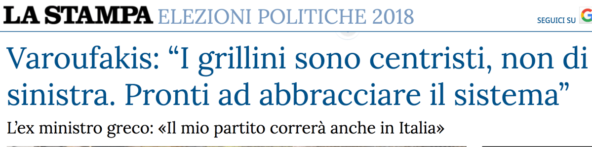 LA STAMPA interview on the Italian election result (the original answers in English) – 9 MAR 2018