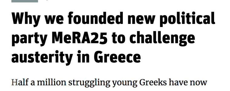 Why we founded new political party MeRA25 to challenge austerity in Greece – The New Statesman, 5 APR 2018